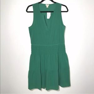 J Crew Size 8 Solid Sleeveless Tiered Dress Green